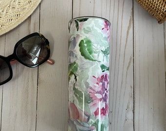 20 or 30 oz. stainless steel insulated tumbler beautifully decorated with pink flowers all around! Keeps your drink cold or hot for hours!