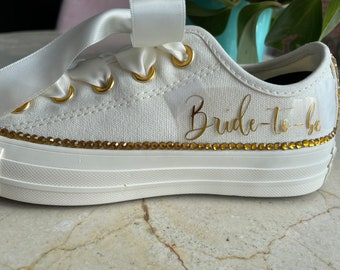 Bride-to-be, Bridesmaids, Bridal Parties!  Let me create a beautiful comfortable shoe for your wedding day on Converse low top tennis shoes!