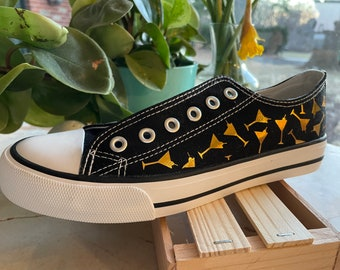 Martini time! It's 5:00 somewhere! Celebrate Happy Hour with these awesome custom low top canvas tennis shoes with gold Martini glasses!