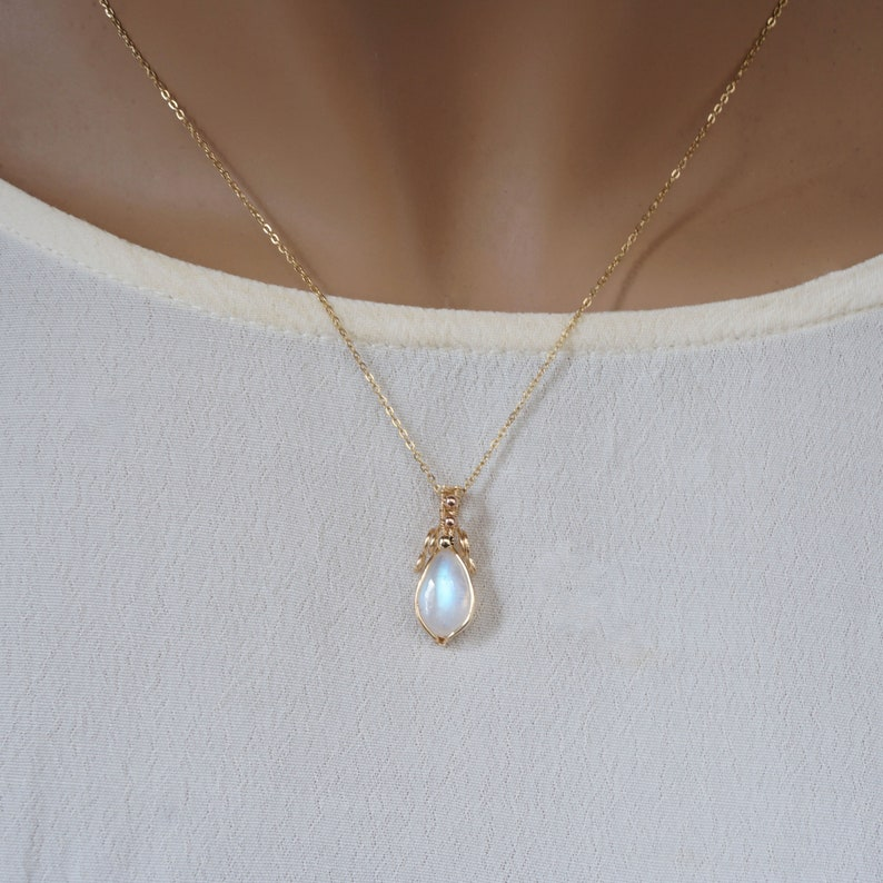 Rainbow Moonstone and 14K Gold Filled Wire Wrapped Necklace Birthday Wedding Anniversary Gift For Her June Brithstone Necklace