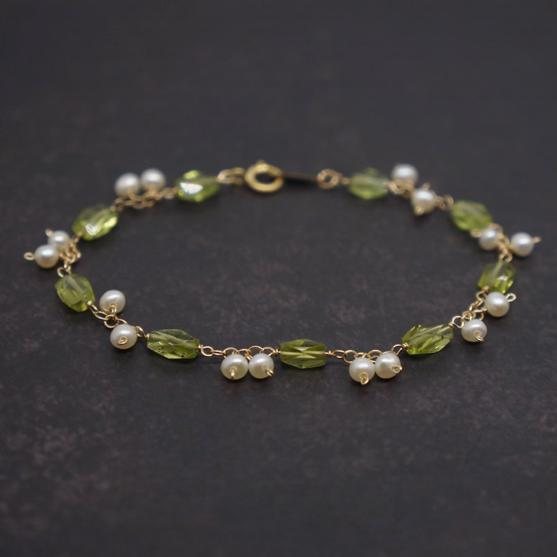 June August Birthstone Bracelet Peridot and Pearl Gold Filled Wire Wrapped Garland Bracelet Birthday Wedding Anniversary Gift For Her