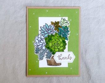 Succulent Thank You Handmade Cards, Cactus Thank You Greeting Card, Succulent Card, Handmade Cactus Card, Succulent Cards, Cactus Cards