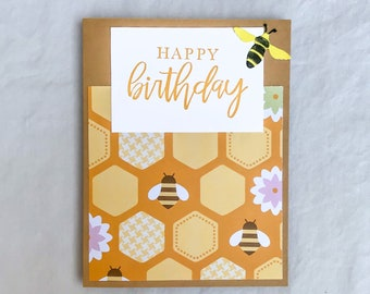 Bee Birthday Card, Happy Birthday Bee Card, Handmade Card with Bees, Birthday Card Bees, Bee Greeting Card, Bee Note Card, Bee Lover Card