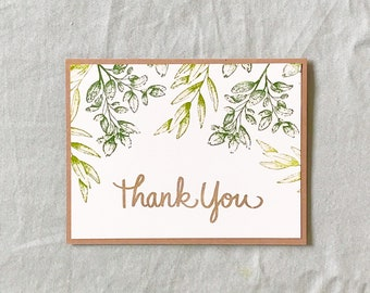 Thank You Card Greenery, Thank You Card Handmade, Thank You Card Elegant, Thank You Card Nature, Thank You Card Plants, Thank You Card Green