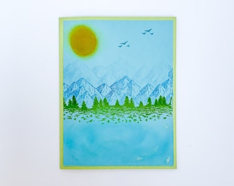 Handmade Nature Card, Cards with Nature, Mountain Card, Lake Card, Simple Masculine Card, Nature Lover Gift, Colorado Card for Him