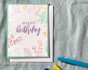 Flower Happy Birthday Card, Birthday Card for Her Flowers, Floral Birthday Card, Wildflower Birthday Card, Plant Birthday Card, Blank Inside