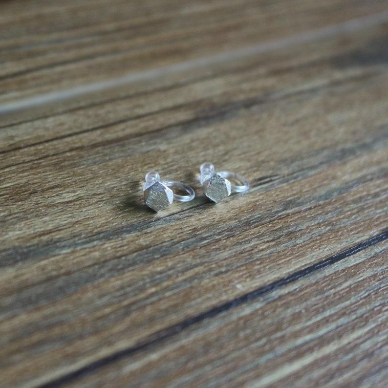 Irregular shape stud clip on earrings stud clip on earrings non pierced earrings resin clip on earrings invisible clip on earrings