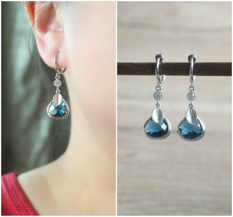 Navy CZ hoop clip on earrings non pierced earrings clip on drop earrings Blue clip on earrings clip on earrings clip on hoop earrings