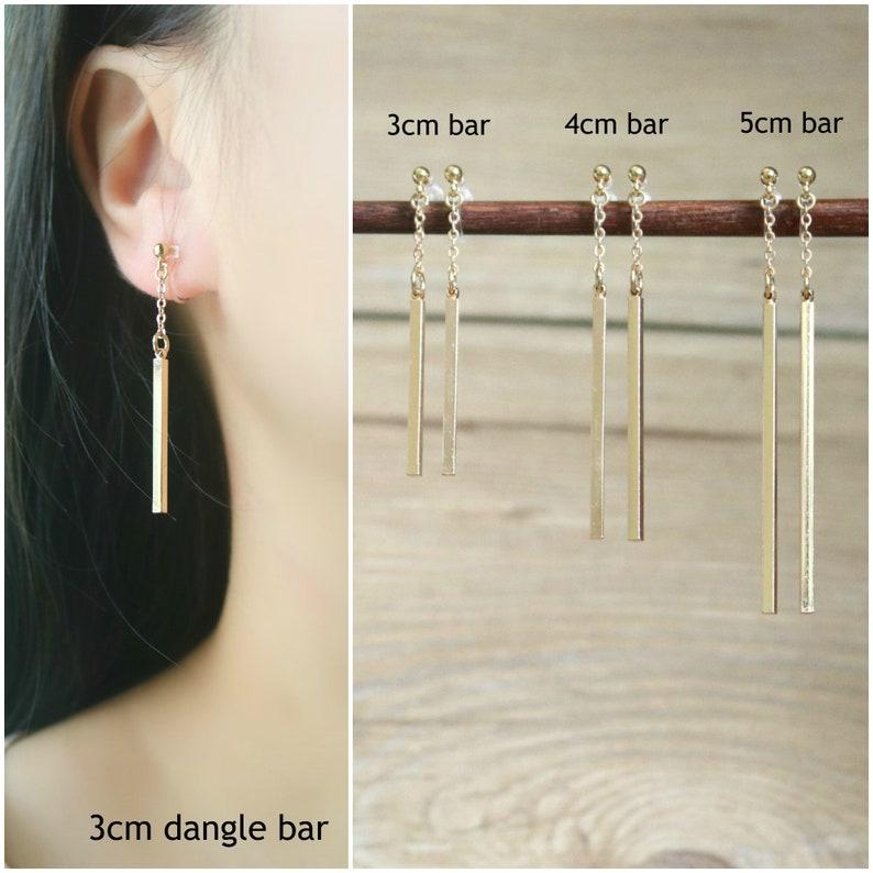 clip on drop earrings Gold dangle bar invisible clip on earrings clip on earrings resin clip on earrings clip-ons non pierced earrings