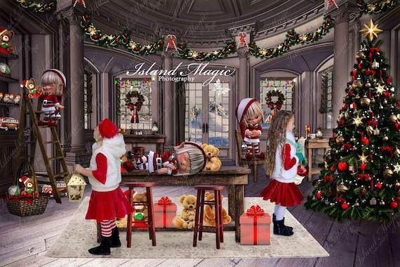 Santa s Workshop Christmas digital backdrop background