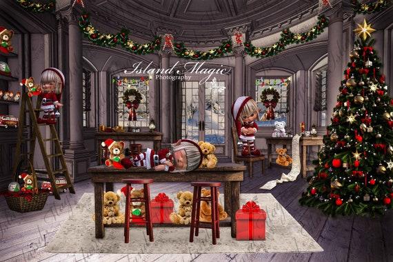 santa s workshop christmas digital backdrop background etsy santa s workshop christmas digital backdrop background