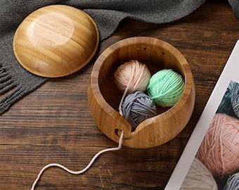 Handmade Wooden Yarn Bowl with lid Knitting Crochet Thread Storage Box yarn ball bowl gift for mother Birthday Present