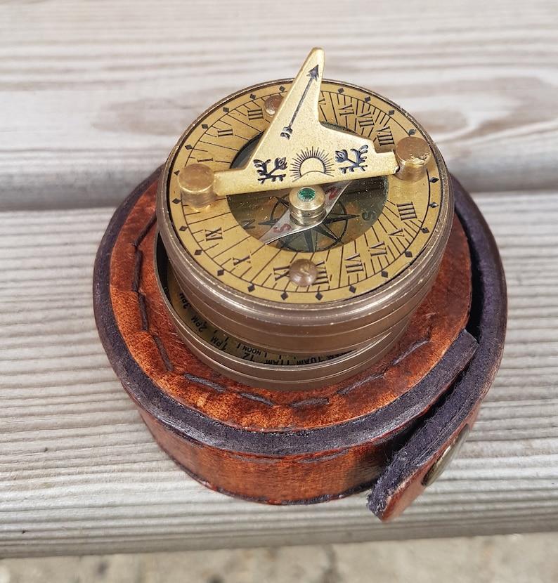 Antique Reproduction Brass Pocket Sundial Navigation Compass Nautical Marine