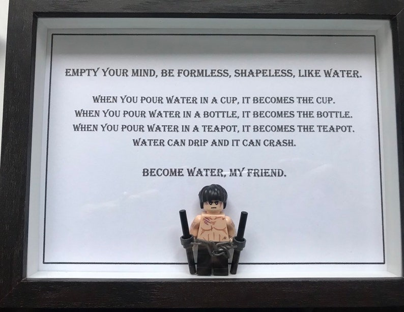 Bruce Lee Empty Your Mind Quote Mini Figure In Frame Etsy