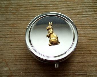 pill case gold stash box purse RABBIT dabs jar marijuana pill box Alice in Wonderland weed pillbox stash tin pill holder bunny cannabis