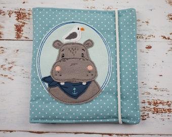 Pixibuchhülle, Pixi, Pixibuch, Minibücherei, Hülle für Minibücher, Geschenk für Kinder, Embroidered Buchhülle, Hippopotamus, maritim