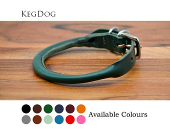 Green Rolled Leather Dog Collar with Buckle - 2cm or 1.2cm wide