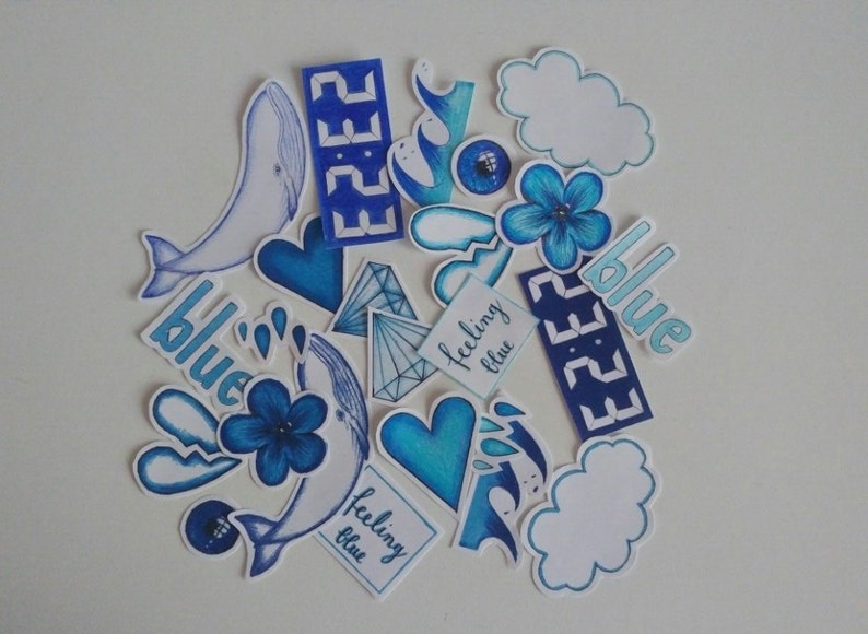 Blue Aesthetic Stickers Includes Free Surprise Stickers