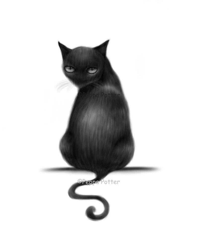 Black Cat Drawing Mysterious Black Cat Art Print Cat Lover Gift Cat Wall Art Black Cat Illustration