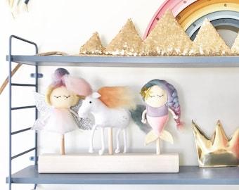 3 puppet rainbow set Fairy Unicorn Mermaid for Mimiki puppet theatre