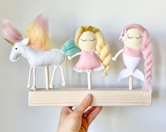 Limited Puppets Set Mermaid Unicorn Princess for Mimiki puppet theatre