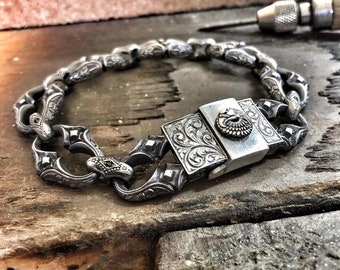 Mens Silver Bracelet Link with Eagle Head, Solid Sterling Silver 925. Box classp Super Reliable Box Clasp