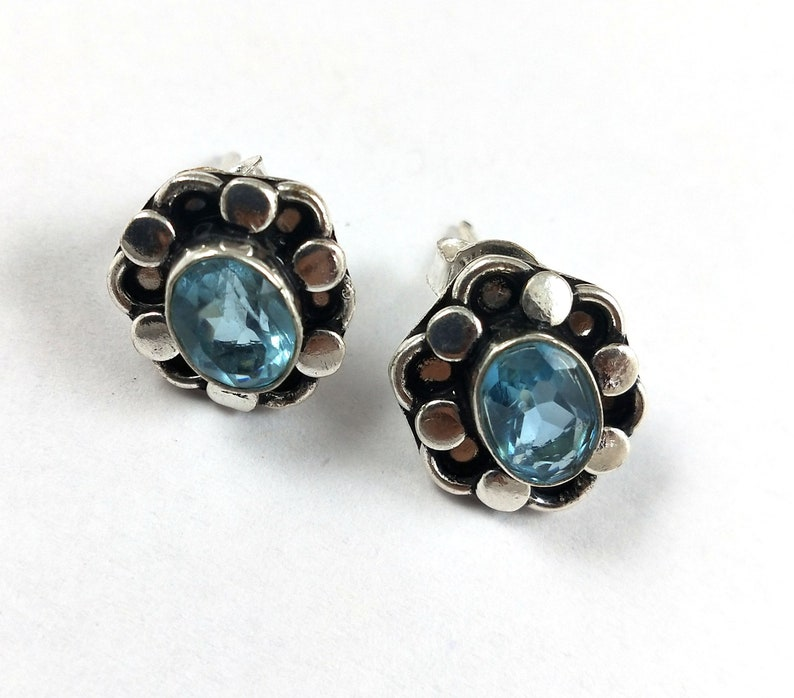 labor day gift designer stud jewelry sale silver plated stud earring party wear women/'s jewelry Blue topaz and Citrine earring jewelry