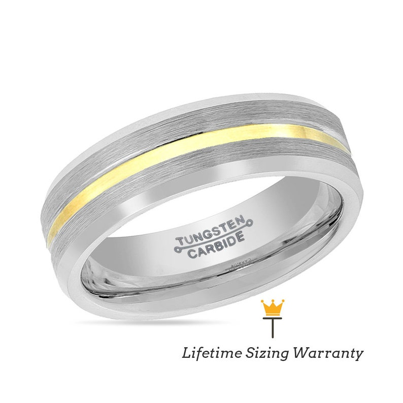 Silver Engraved Engagement Ring for Him Male Anniversary Gifts Gold Groove Tungsten Men/'s Wedding Band Custom Fit Gunmetal Matching Ring