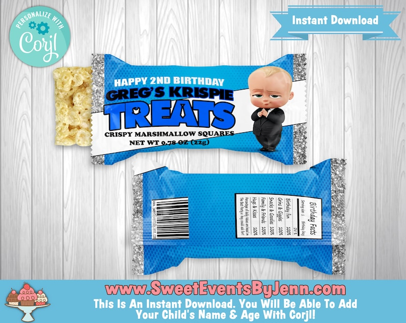 Custom Party Favors Personalized Rice Krispie Treats Wrapper Printable Thank You Gift Instant Download