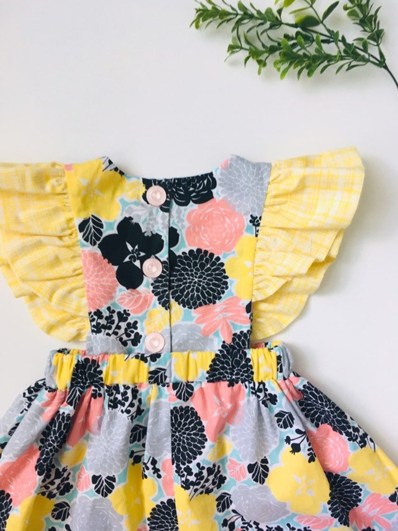Floral Baby Dress Baby Girl Dress Pinafore Baby Dress Spring Baby Dress Baby Bloomers Ruffle Pinafore Ruffle Sleeve Baby Dress