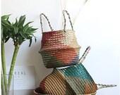 Natural Straw Basket Bag,Handmade Woven Seagrass Storage Basket,Wicker Rattan Belly Straw Garden Flower Pot,Planter Clothes Basket,Beach Bag