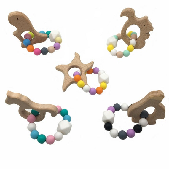 Baby Bracelet Rattle Teether Silicone Beads Bangles Teeth Pacifier Clip Chew Toy
