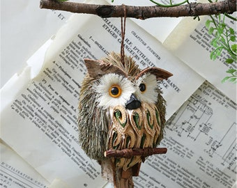 Owl Straw Decoration Simulation Animal Cute Standing Owl Gardening Landscape Accessories Outdoor Yard Decor for Party Home Holiday