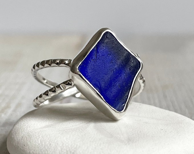Featured listing image: Cobalt Textured Sea Glass & Silver Double Band Ring
