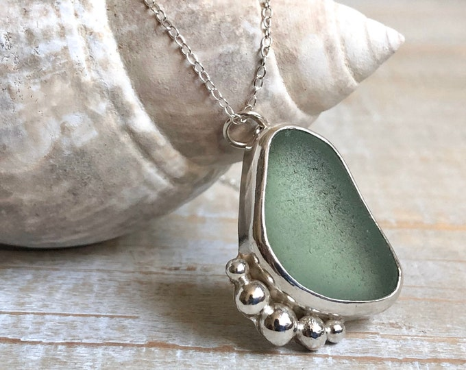 Featured listing image: Seafoam Green Sea Glass & Silver Ball Pendant Necklace