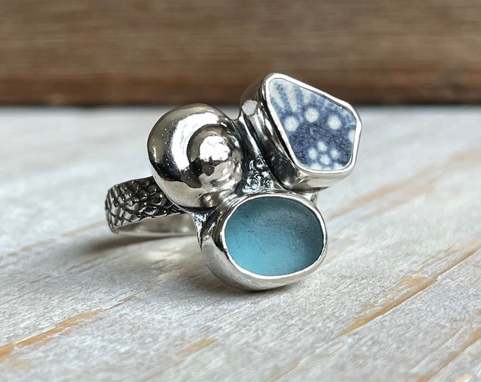 Featured listing image: Cyan Sea Glass, Sea Pottery & Fine Silver Seashell Ring