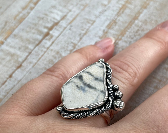 Featured listing image: Marbled Sea Pottery & Twisted Silver Ring