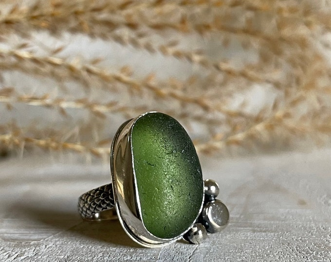 Featured listing image: Olive Green Sea Glass & Silver Pebbles Statement Ring