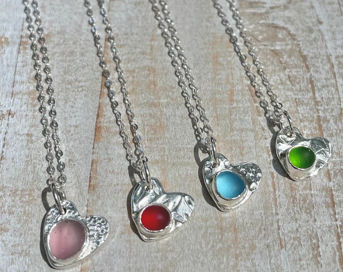 Featured listing image: Sea Glass & Fine Silver Textured Heart Dainty Necklace