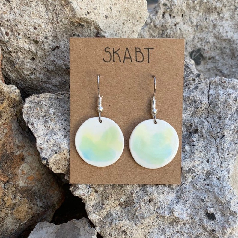 Watercolor porcelain earrings