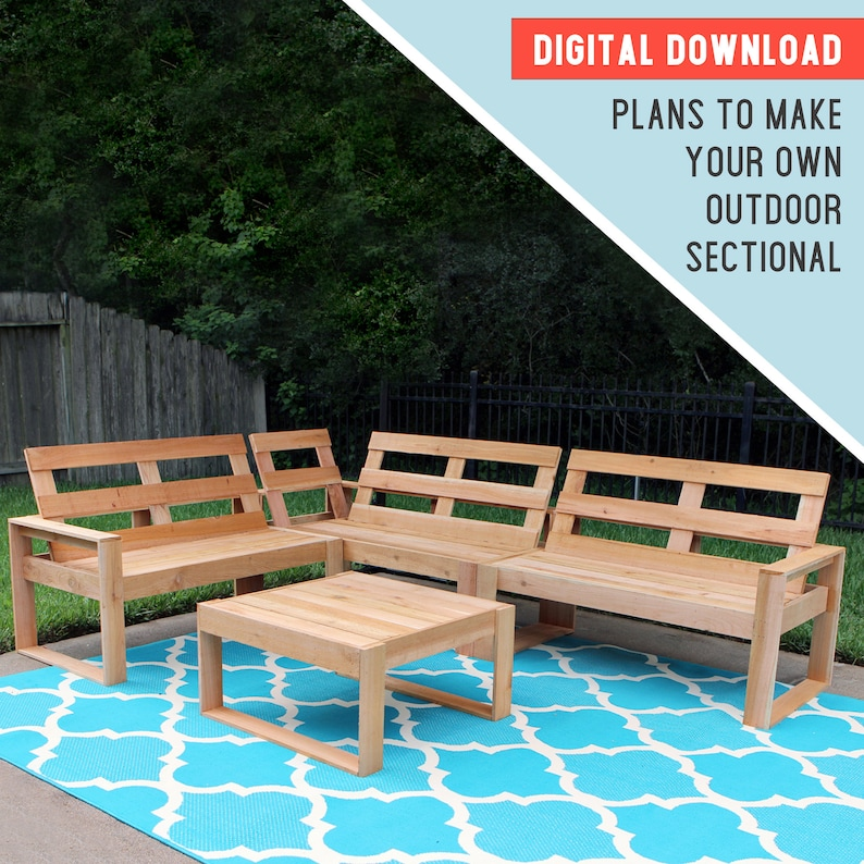 Plans Outdoor Sectional Woodworking Plans Plans To Build Etsy