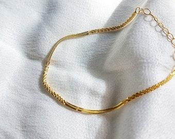 Dainty Gold Chain Bracelet/ Thin Chain Bracelet / 925 Sterling Silver Chain Bracelet / Delicate Chain Bracelet