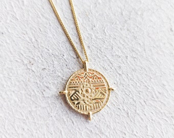 Sun Coin Necklace, Gold Coin Necklace,925 Sterling silver coin Necklace, Dainty Necklace, Silver Necklace, Coin Necklace, Gift for her