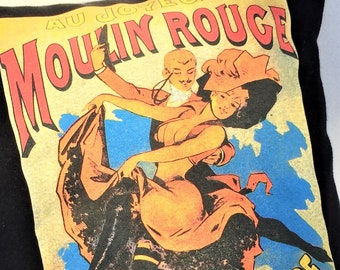"""Repurposed T-Shirt """"Happy at the Moulin Rouge"""" made into a 12"""" X 18"""" Zippered Pillow with Removable Insert Washable"""