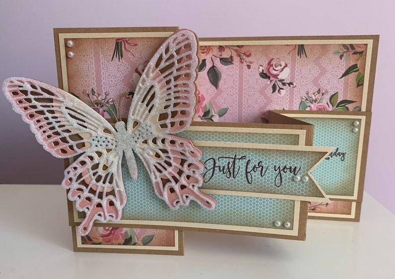 very pretty luxury zfold butterfly handmade card ideal