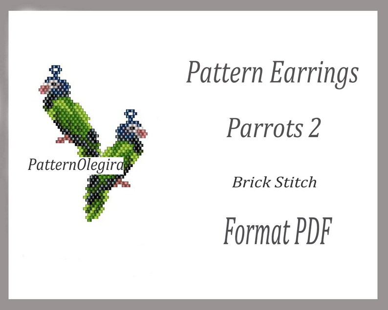 beading Tutorial Earrings Parrots Weaving pattern Beaded Pattern Earrings Parrots 2 Beaded Pattern Brick Stitch Earrings Parrots 2
