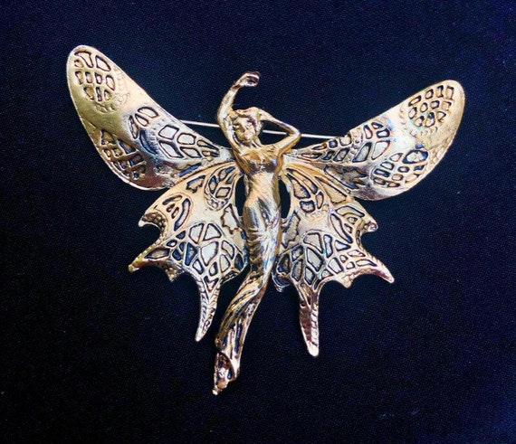 Gold Tone Butterfly Fairy Art Nouveau Brooch Much… - image 2