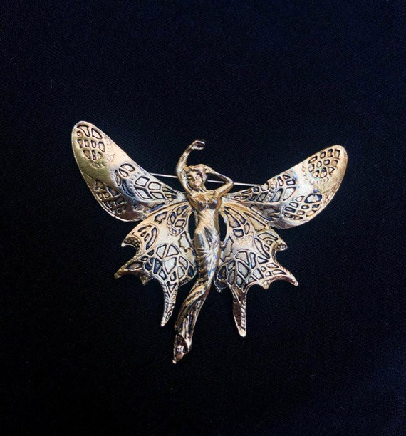 Gold Tone Butterfly Fairy Art Nouveau Brooch Mucha