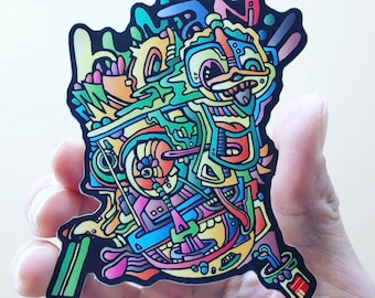 """Boogerman Sticker AEQEA Snotface 2CB Colorway (4""""x3"""" abstract outsider art popart expressionist contemporary antiart brut streetwear)"""