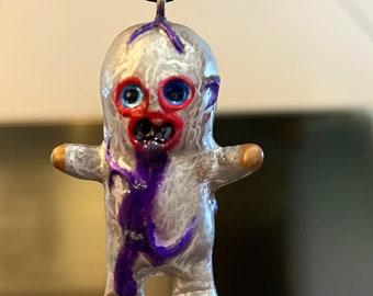 Dehara Menta Kun Resin Pendant Lulubell Toy  x AEQEA custom Purp Puke necklace art toy figure